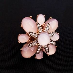 Rose Pink Floral Cabachon Statement Ring Size 7